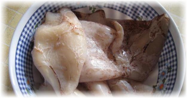 свежий размороженный кальмар в тарелке