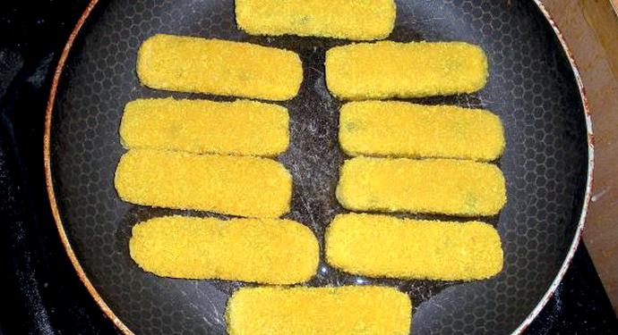 приготовление желтых рыбных палочек